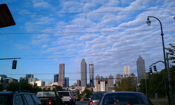 It's one of the prettiest angles of the city skyline but it's a lot of cars between me and my office.