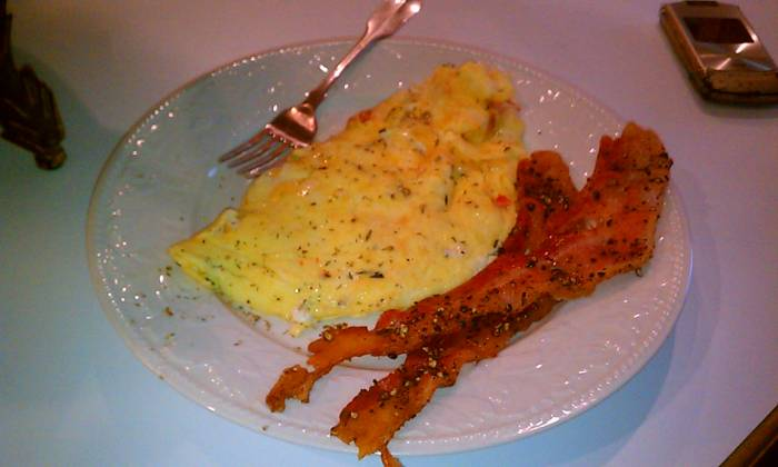 Asiago and Caramelized Onion (with the last garden tomato) Omelets with BACON!!!!