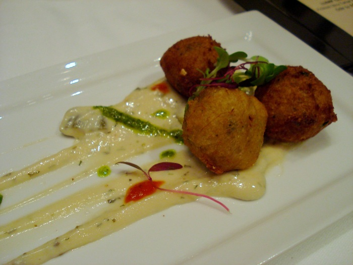 Lump Crab Hush Puppies with Pickled Okra Tartar Sauce