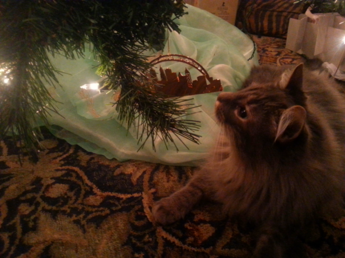 Detective Inspector Ferguson approves the Christmas tree