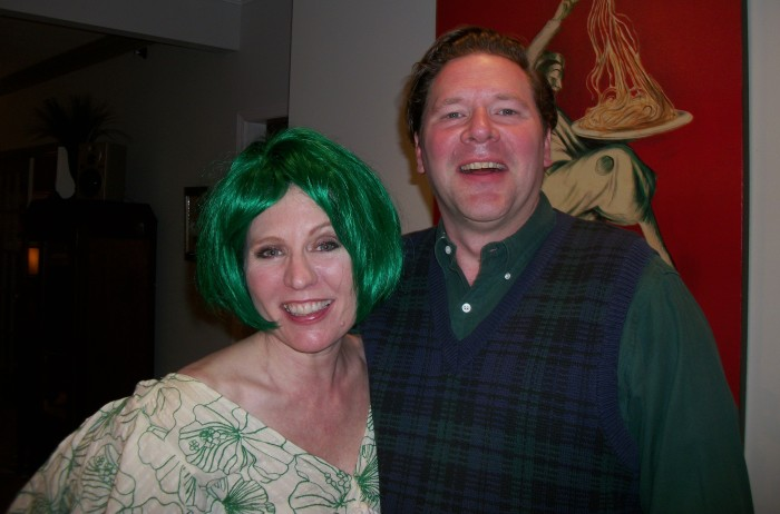 Happy hosts! That's me in the green wig.  (any excuse)