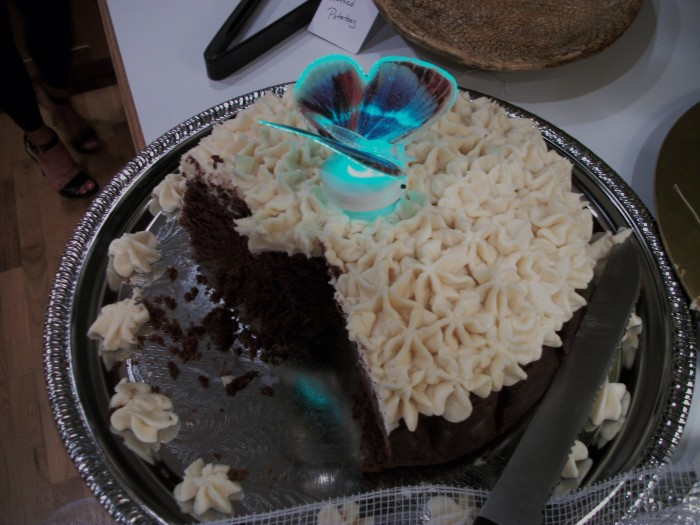 Laura and Paul's tasty Guinness chocolate cake with Bailey's Irish Cream Icing! (and holographic butterfly - Dana had an extra.)