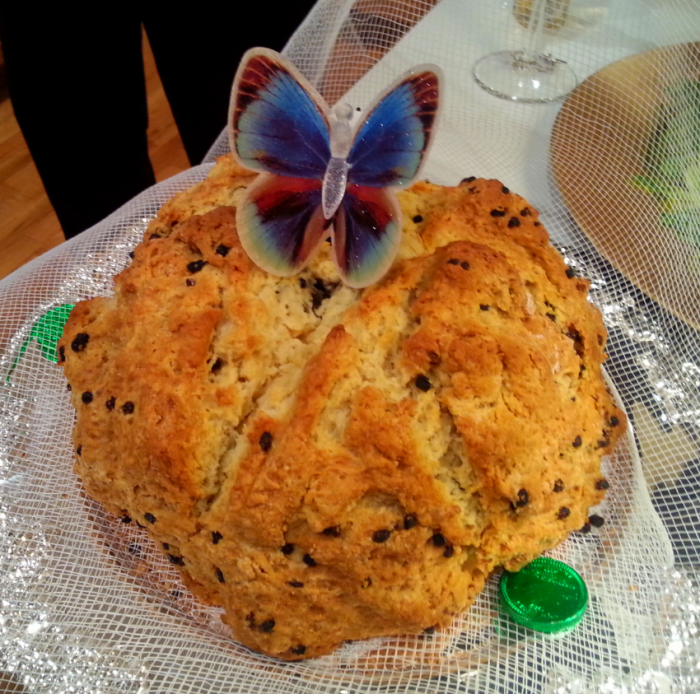 "Dana's homemade Irish Soda bread (complete with holographic butterfly - he likes to add that ""extra touch."""