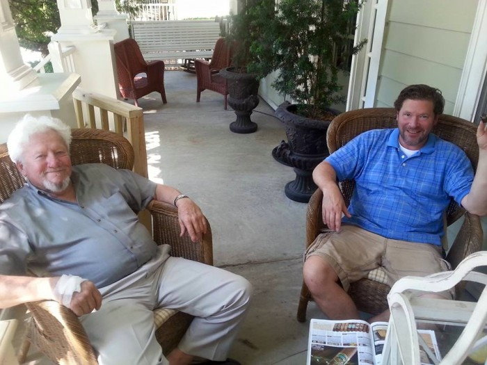 Daddy and David relaxing on the porch