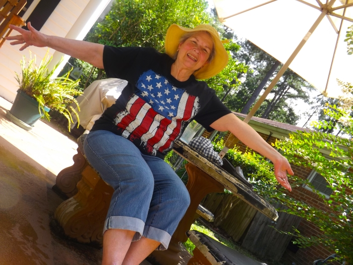 My awesome Mom-in-Law, bedecked for July 4th!